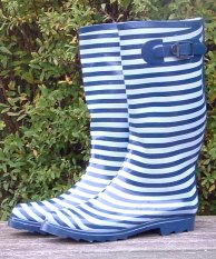 Blue and White Striped Wellies